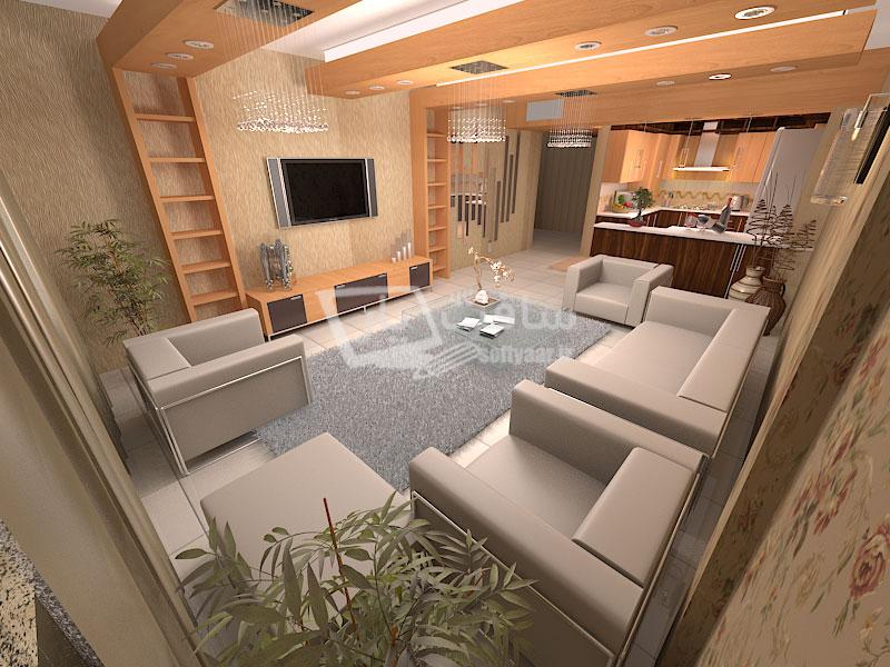 پروژه طراحی هال و آشپزخانه یک مدل آپارتمان معمولی با نرم افزارهای 3ds Max ، Dialux ، Autocad و Vray Rendering Engine