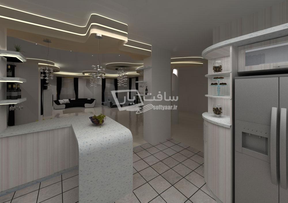 پروژه طراحی هال و سالن نشیمن و آشپزخانه ویلا با نرم افزارهای 3ds Max ، Dialux ، Autocad و Vray Rendering Engine