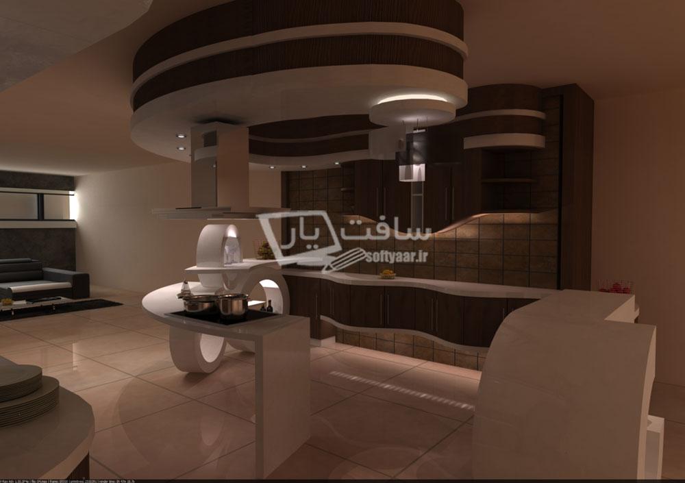 انجام پروژه طراحی یک آشپزخانه لوکس با نرم افزارهای 3ds Max ، Dialux ، Autocad و Vray Rendering Engine