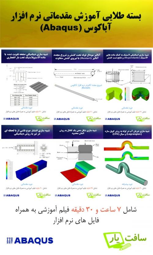 دانلود فیلم جامع آموزش نرم افزار آباکوس Abaqus به زبان فارسی و به صورت مسئله محور بر اساس استانداردهای Tutorial نرم افزار برای کسانی که می خواهند کار با نرم افزار آباکوس را شروع کنند.