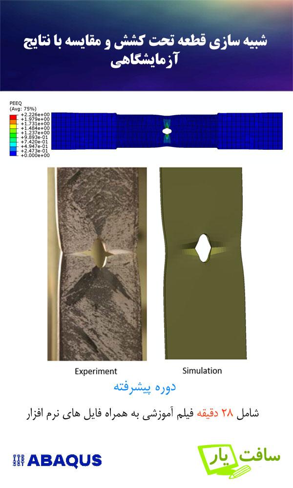 فیلم آموزش شبیه سازی قطعه با سوراخ میانی تحت کشش به کمک نرم افزار آباکوس Abaqus و مقایسه نمودار های نیرو جابه جایی و نحوه تعییر شکل با نتایج آزمایشگاهی