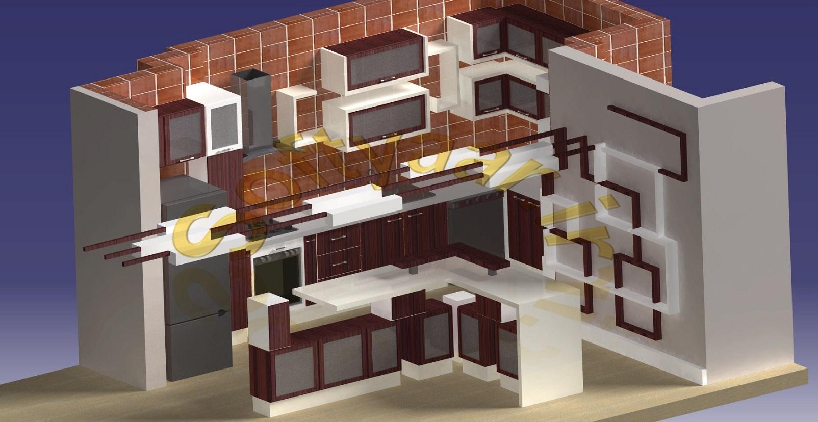 انجام پروژه طراحی یک آشپزخانه و سقف اپن و دیوار جانبی با AutoCAD و CATIA ببا متریال هایگلاس و Mdf تخت و طراحی سقف و دیوار جانبی با ترمو وود (Thermo Wood) و یا چوب پلاست (Wood-Plastic)