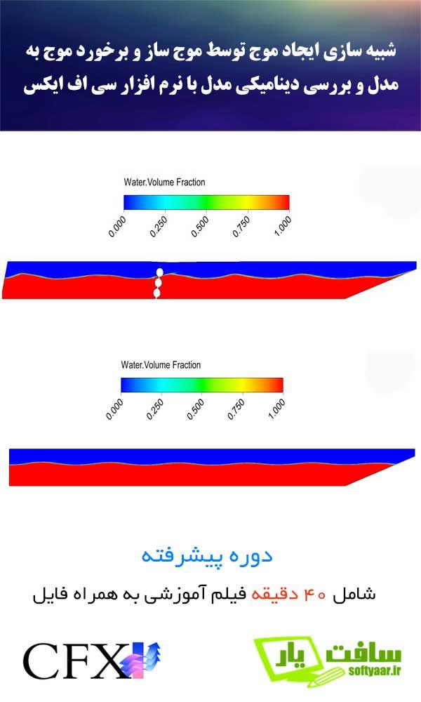 شبیه سازی ایجاد موج توسط موج ساز و برخورد موج به مدل با نرم افزار سی اف ایکس CFX با در نظر گرفتن دو فاز هوا و آب و کوپل با معادلات دینامیکی