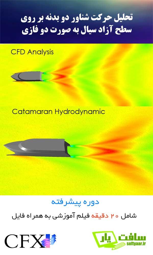 شناور دو بدنه Catamaran دو فازی CFD